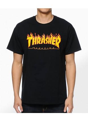 Triko Thrasher Flame Logo black